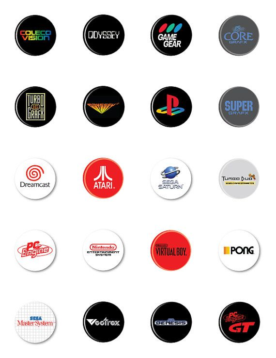 Items similar to RETRO GAMING CONSOLE Logo Collection - Pins or Magnets on  Etsy