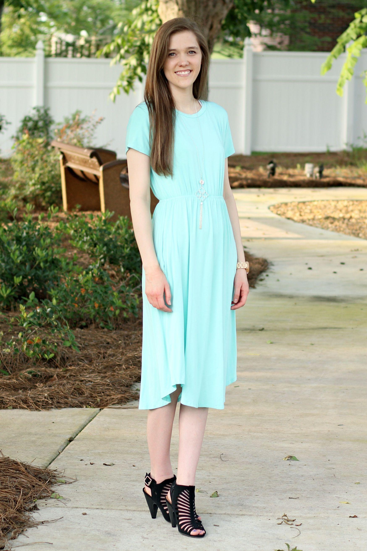 Modest Comfy Outfit For Church Mint Swing Dress Jord Wood Watch Black Heels Spring Summer Style Fe Mint Swing Dress Modest Outfits Conservative Dresses [ 2621 x 1748 Pixel ]