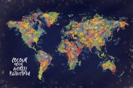 World map colour your world beautiful maxi poster world maps world map colour your world beautiful maxi poster gumiabroncs Images
