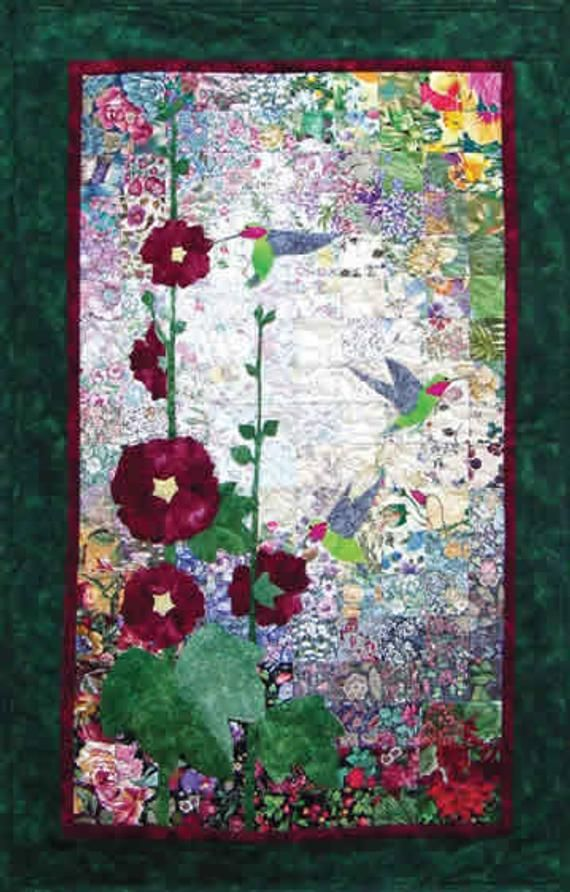 Hummingbirds & Hollyhocks - Whims Watercolor Quilt