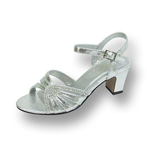 on feet images of closer at various styles FIC FLORAL Carla Women Extra Wide Width Heeled Dress Sandal SILVER ...