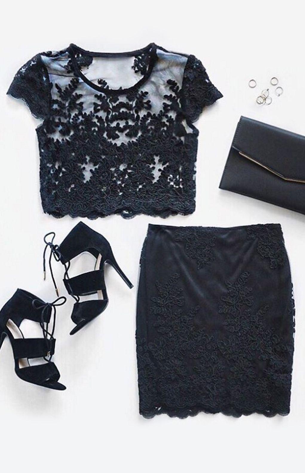 Party prerequisite black lace twopiece dress clothes black laces
