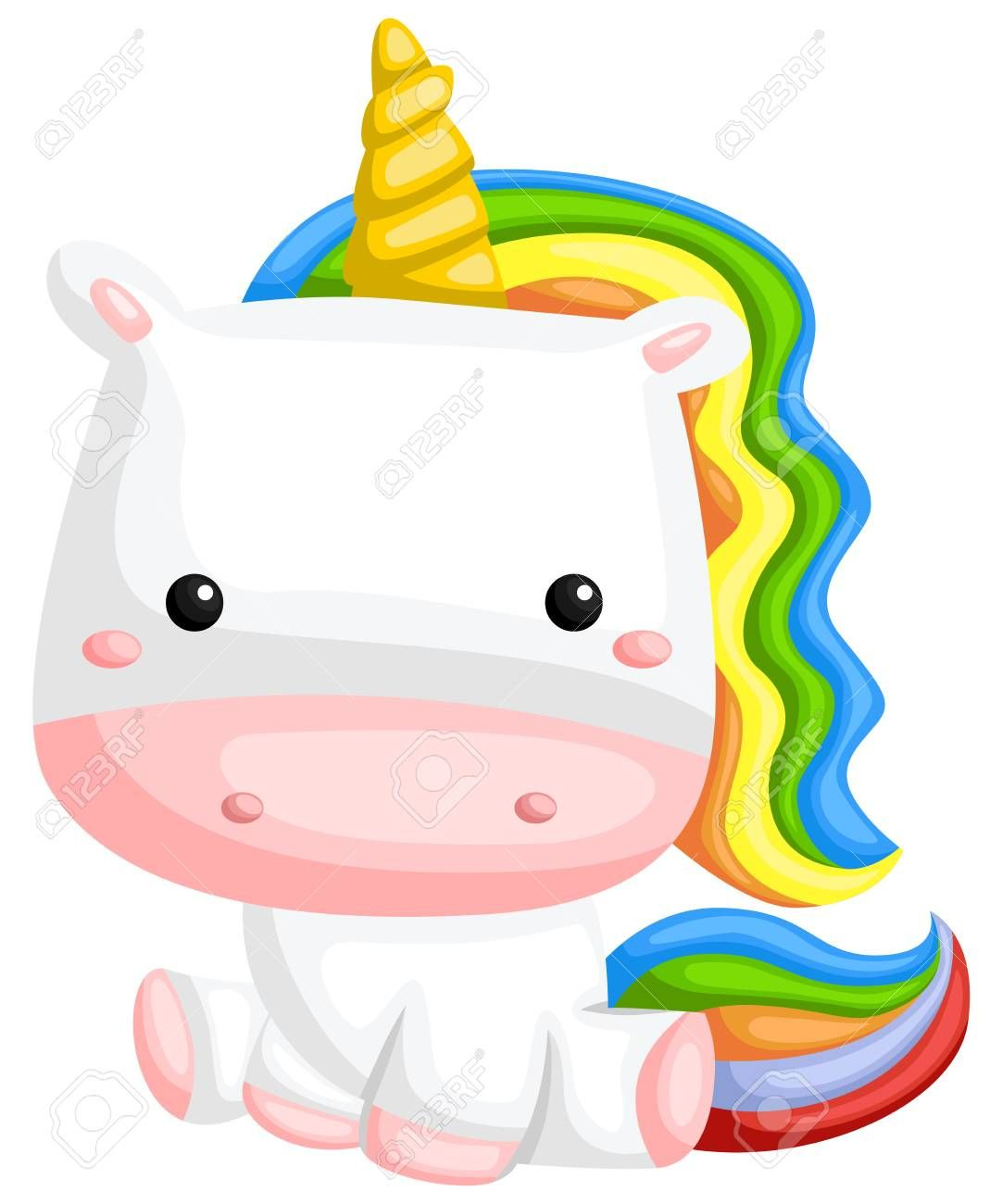 A Vector Of A Cute Rainbow Colored Unicorn Illustration Aff