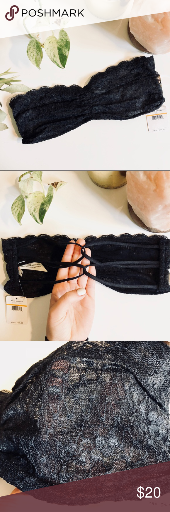 821c90b015e NWT FREE PEOPLE Black Essential Lace Bandeau Bra New with tags. Currently  available on freepeople