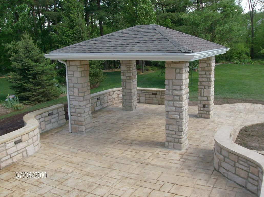 Stone Patio, Walls & Gazebo sealed clear | Stamped ... on Square Concrete Patio Ideas  id=40029