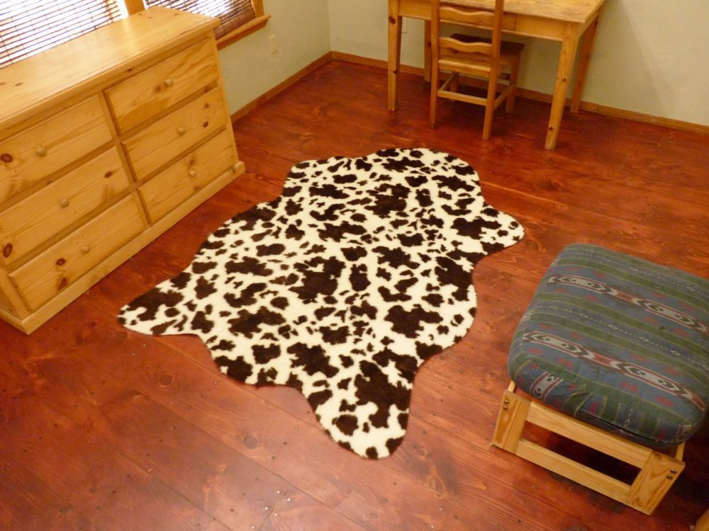 Faux Brown And White Cow Hide Rug 4 6 X 8 Fake Cowhide Print Hollywoodloverugs Southwestern