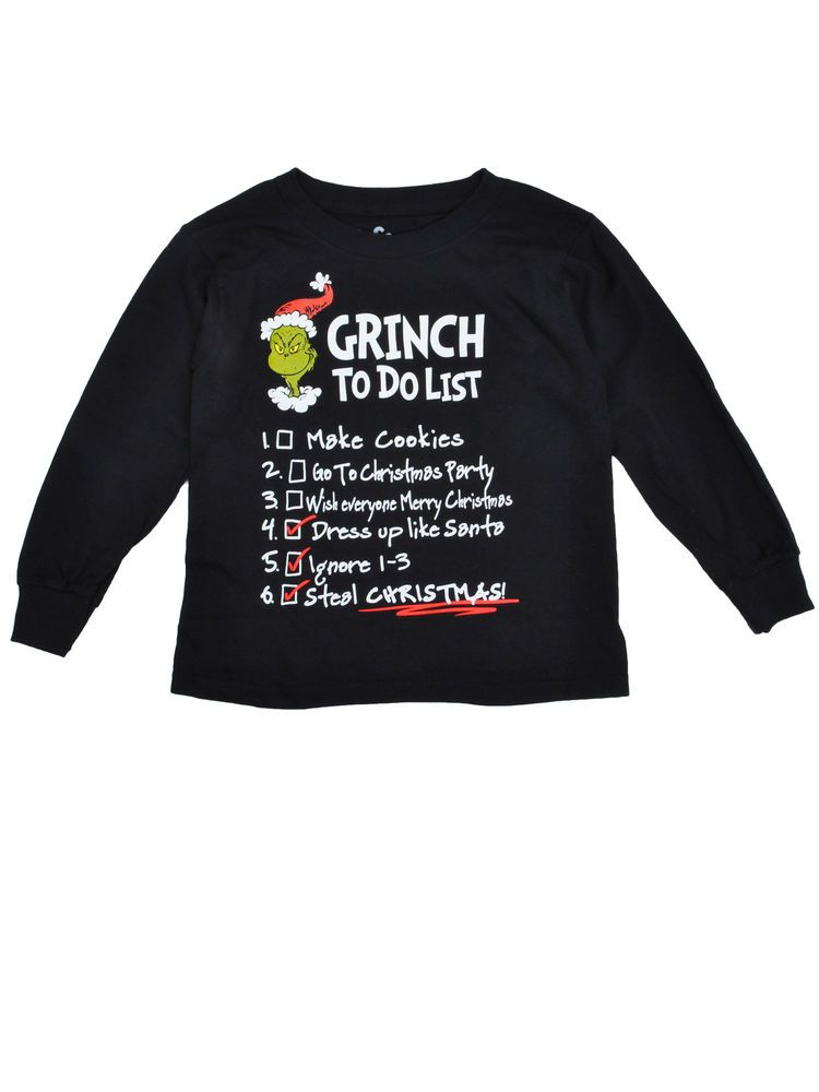 Boys The Grinch To Do List Christmas Shirt - Long Sleeve Black   10.49 End  Date  Friday Dec-7-2018 13 13 59 PST Buy It Now for only   10.49… a72973d163