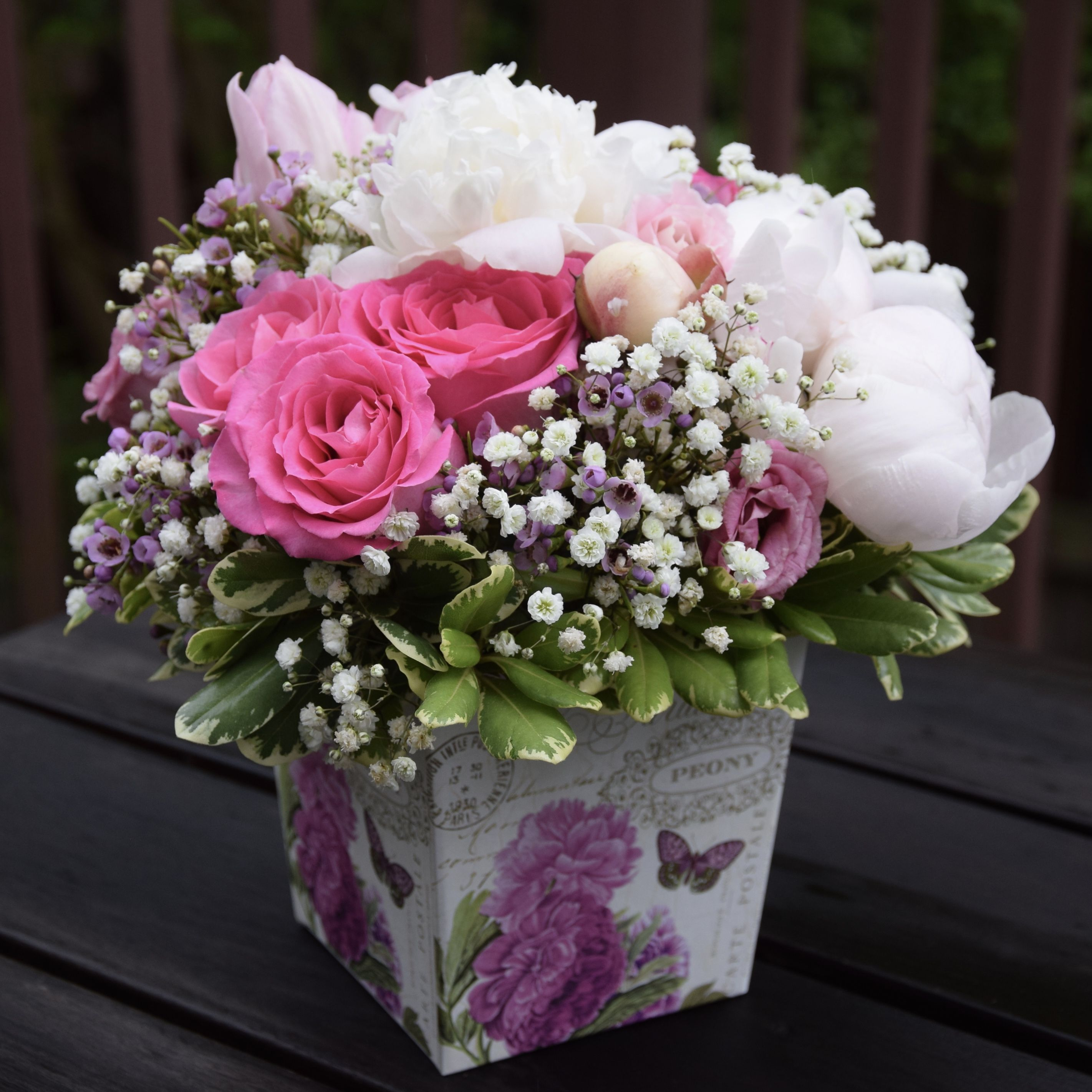 Pretty Flower Box For Mother S Day Peonies Roses Lisianthus Baby Breath And Tulips Floral Arrangements Flower Arrangements Fresh Flowers Arrangements