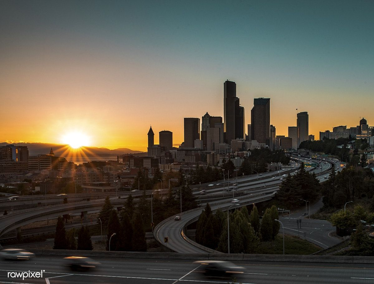 View of Seattle city at sunrise free image by