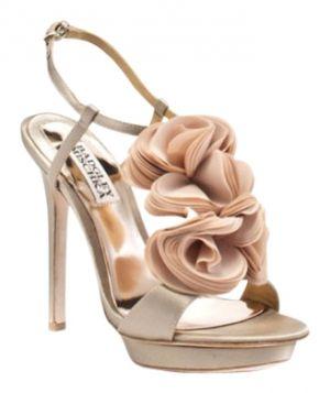 Badgley Mischka flower wedding shoe Nude Formal
