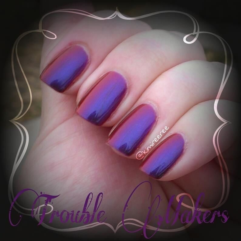 Trouble Makers by Bear Pawlish - This duo-chrome has a red base and is a stunner when she shifts from red to purple and blue.
