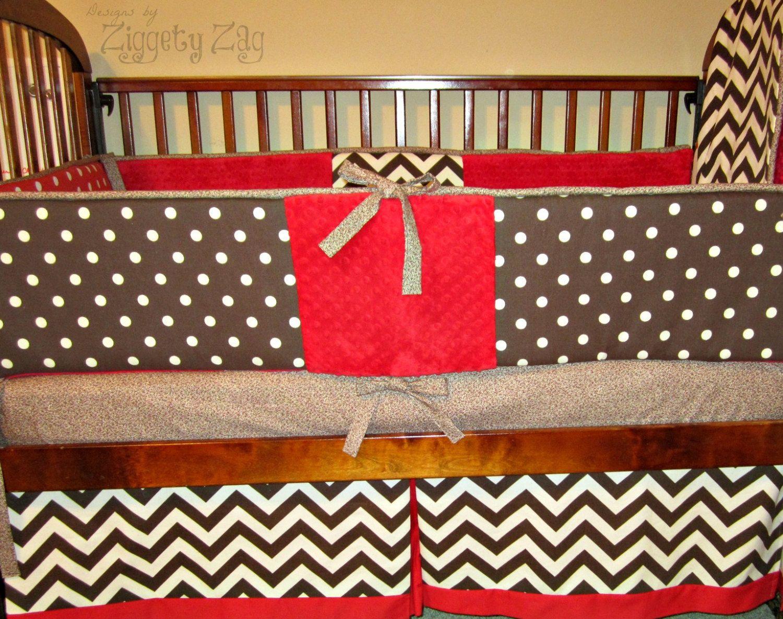 Baby Crib Bedding Sock Monkey Red Brown Baby Boy Bedding