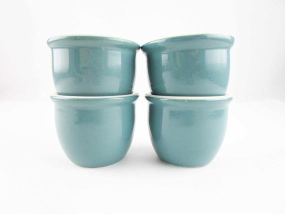 Four Hall Custard Cups Or Sauce Bowls Teal Blue Outside Ironstone Vitrified China Bowl 1 2 Cup Ironstone Custard Cups 351 1 2 China Bowl Vintage Pottery Teal Blue