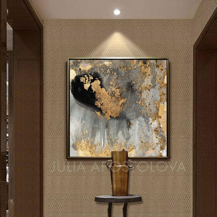 Gorgeous Golden Accent Wall Art Canvas Print Poster: Watercolor Abstract Canvas Art, Gold Leaf Decor, Modern