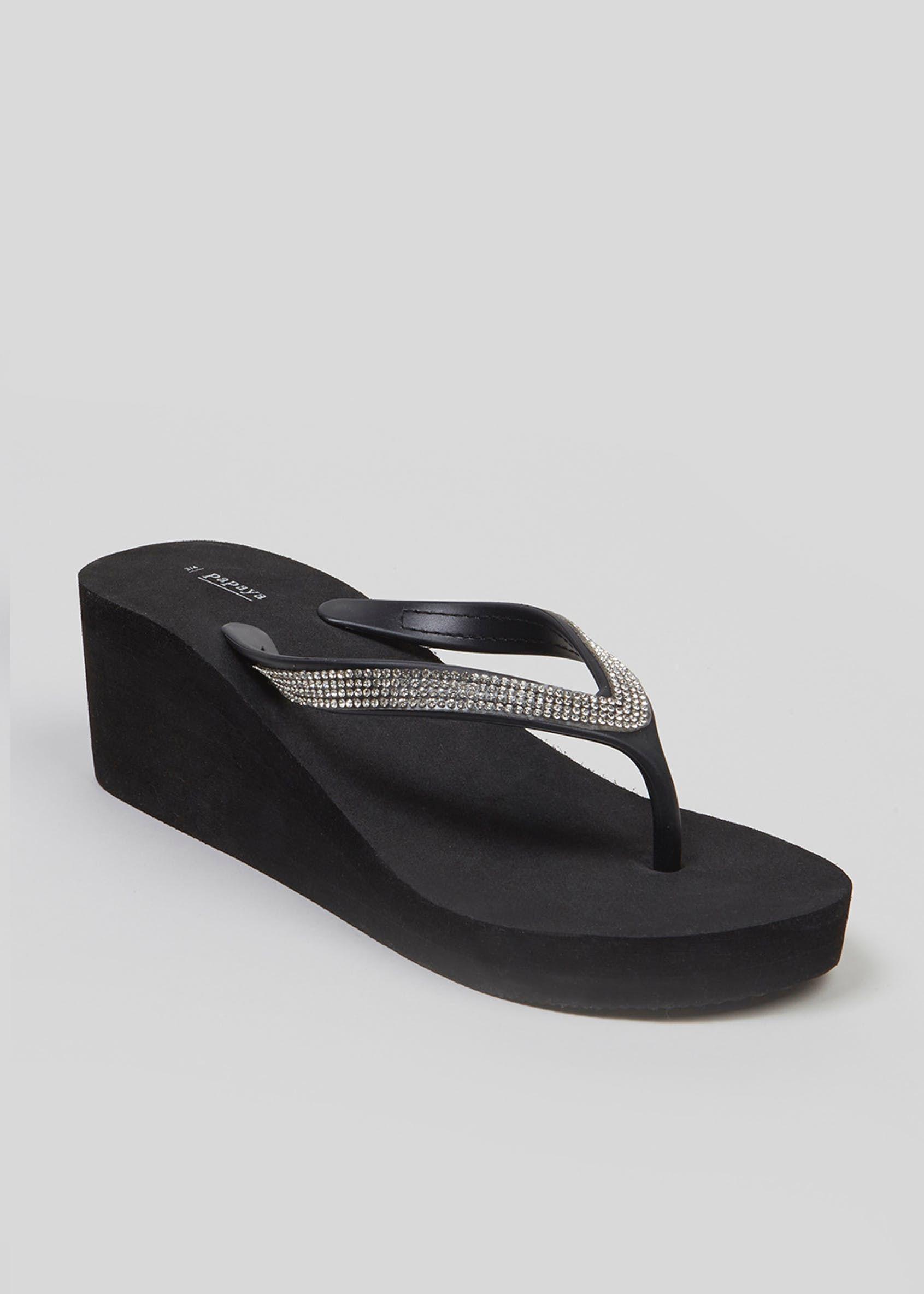 3e3fbd543 Wedge Flip Flops – Black – Matalan