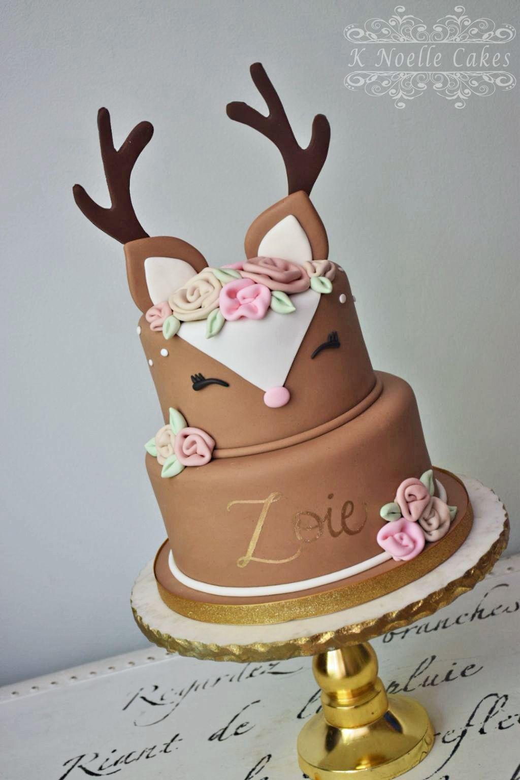 Remarkable Deer Cake By K Noelle Cakes Deer Cakes 1St Birthday Cake For Birthday Cards Printable Inklcafe Filternl