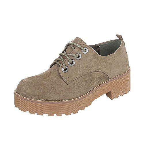 Ital-Design - Zapatos Planos con Cordones Mujer , color marrón, talla 38