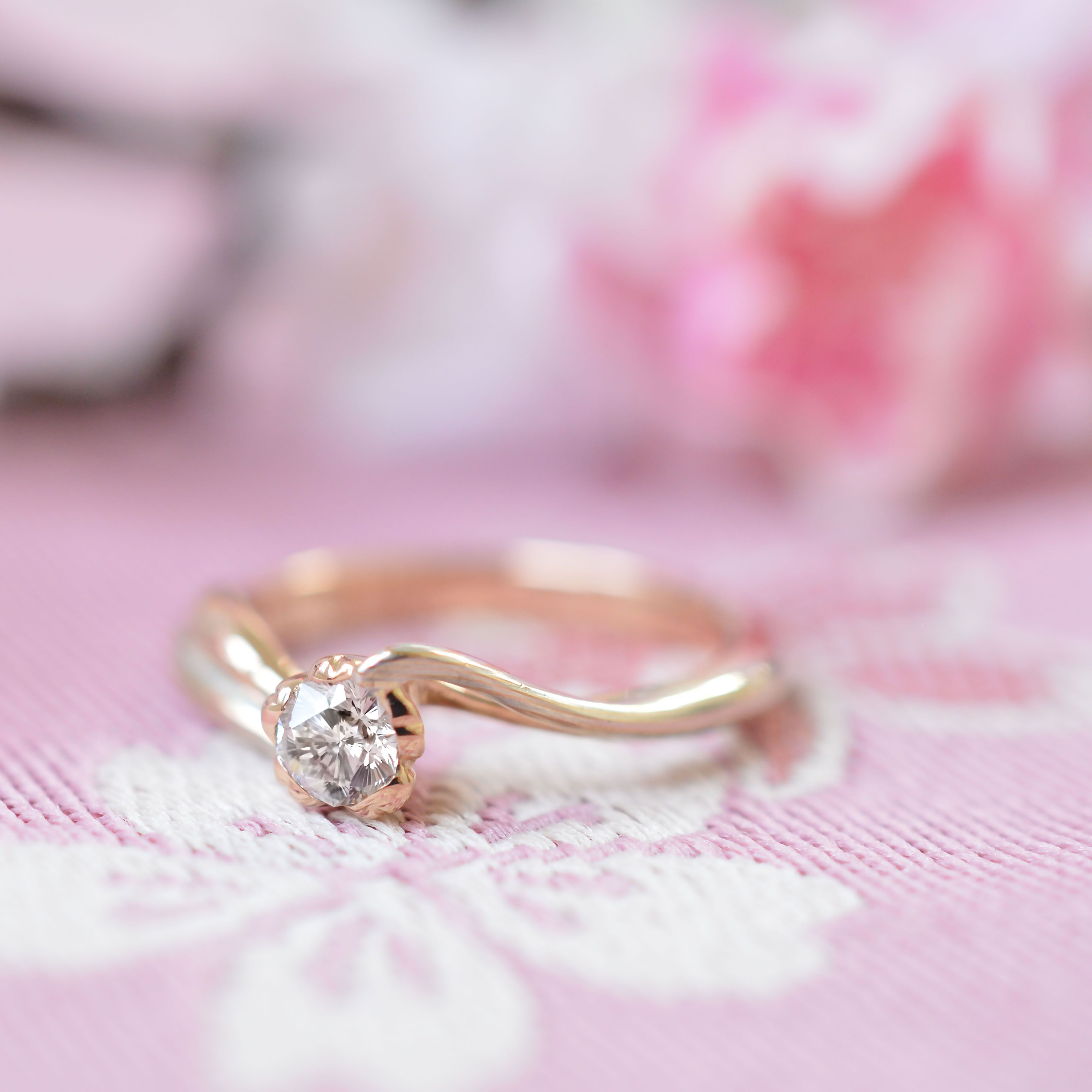 🌸木目金の婚約指輪🌸「桜一輪」 Mokume Gane Engagement ring [Sakura ...