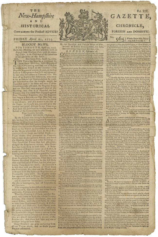 Front page of the New Hampshire Gazette (April 21, 1775) · George
