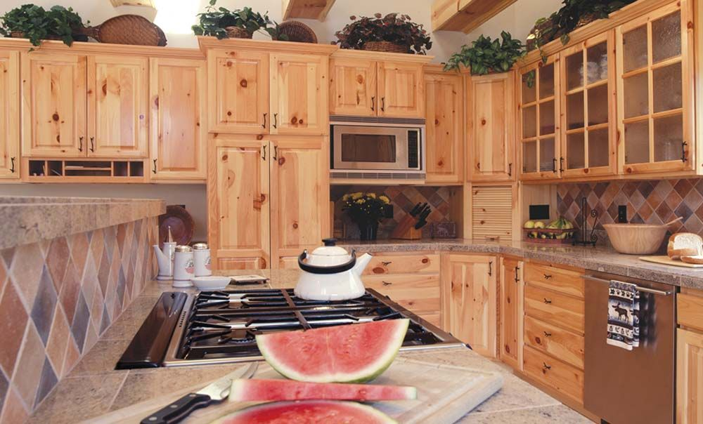 Rustic Northwest Knotty Pine Cabinets, Tilework