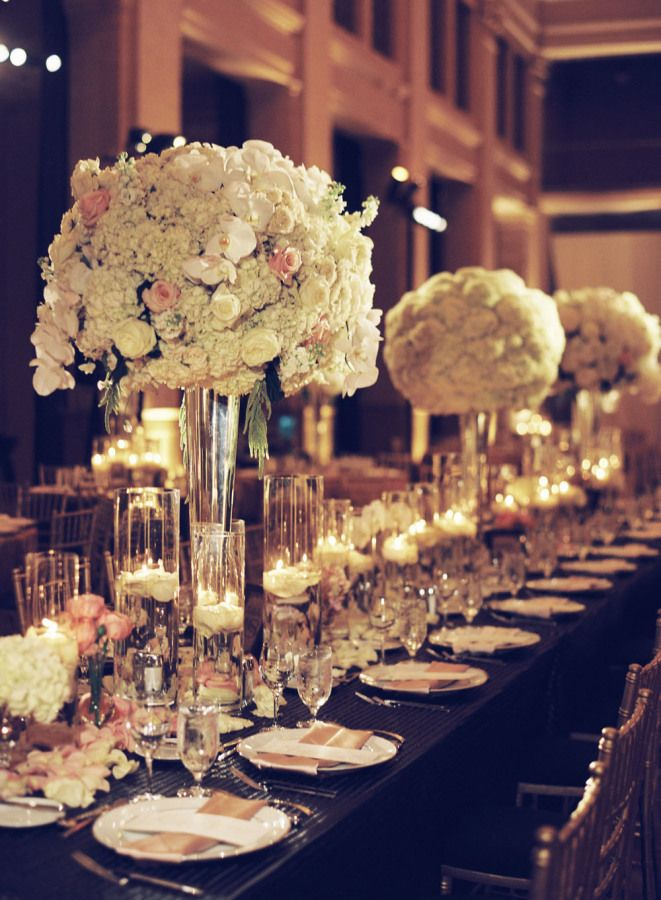 Tall wedding centerpieces and black wedding table setting idea
