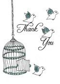 """Thank You Birds"" (Cage) Greeting Card"