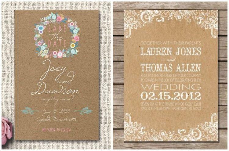 Convites De Casamento Em Papel Craft Convites E Cartões Wedding