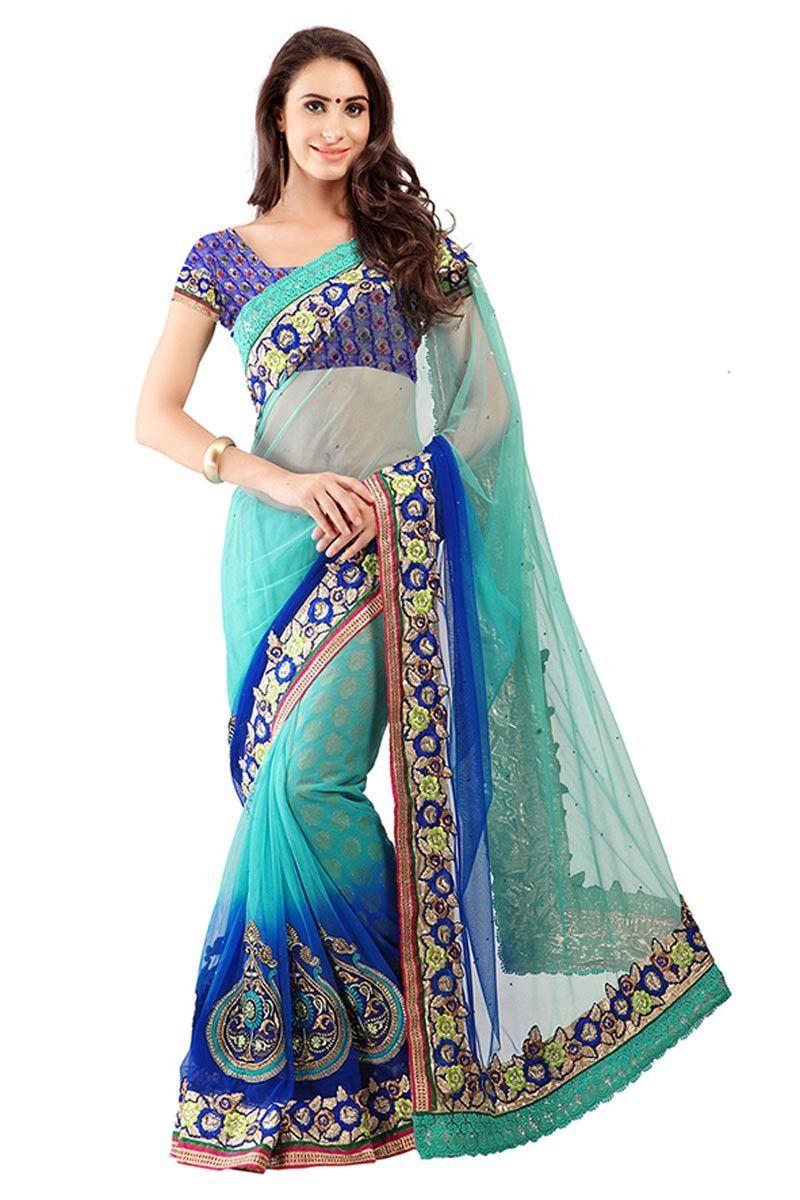 Rama & Blue Net & Viscose Designer Saree with Blue Jacquard Blouse