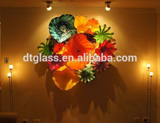 Fantastic murano glass flower plates wall hanging light art
