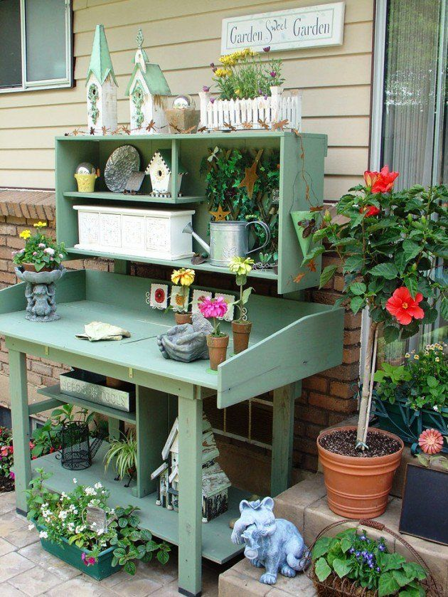 25 Cool DIY Garden Potting Table Ideas | Potting tables, Gardens and ...