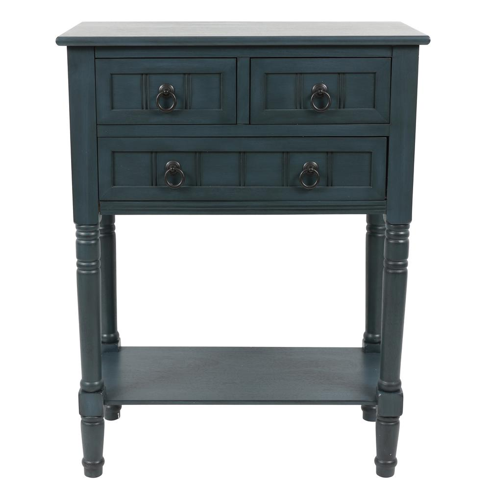 Decor Therapy Westerman Navy Blue 3 Drawer Console Fr8734 Small