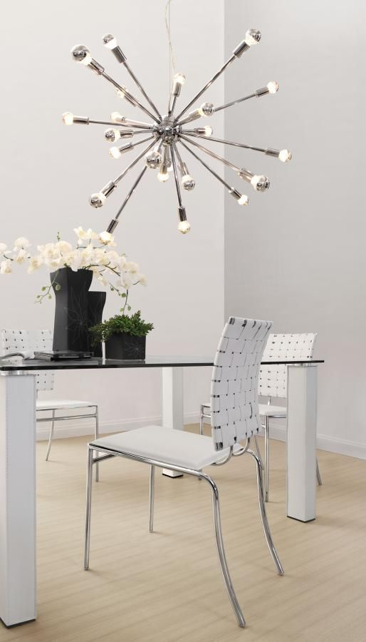 super chic home office. love the fixture