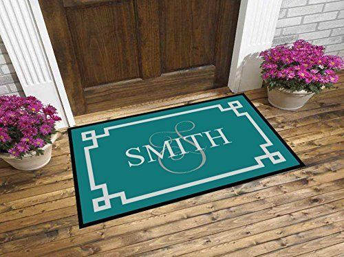 Custom Monogrammed Greek Key Family Home Door Mat 2 Sizes Personalized Double Front Decor Housewarming
