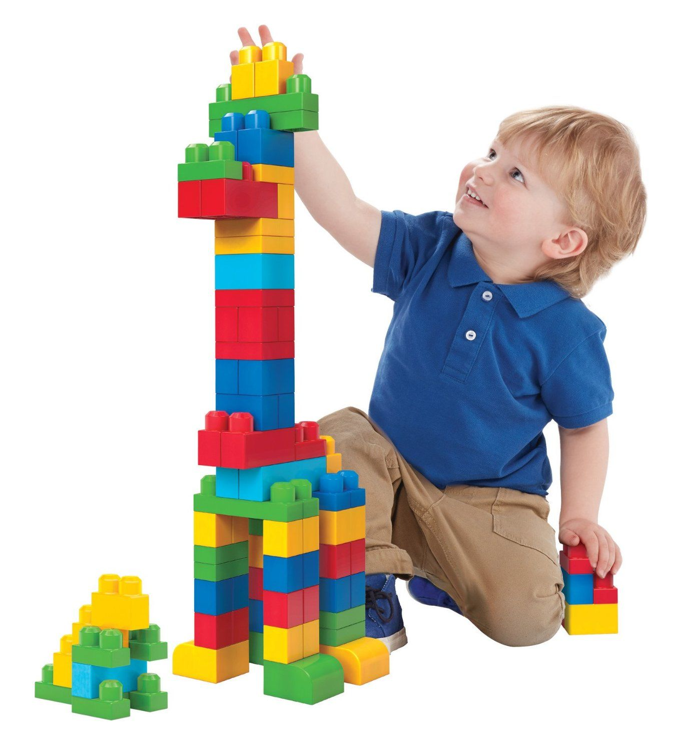 There Are A Few Pictures Of Children Playing With Blocks