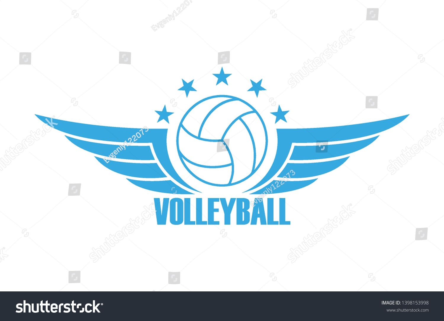 Illustration On A Sports Theme In Blue Color Volleyball Ball Wings Stars And Text Sport Club Logo Ad Sponsored Blu Sports Theme Blue Color Illustration