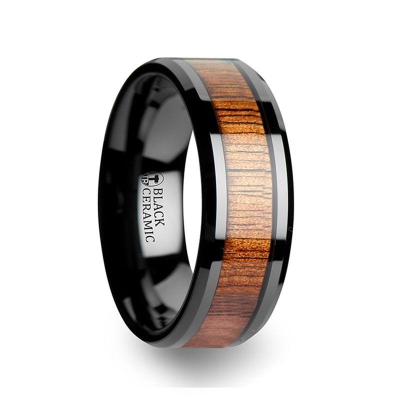 Acacia koa wood inlaid black ceramic ring with bevels