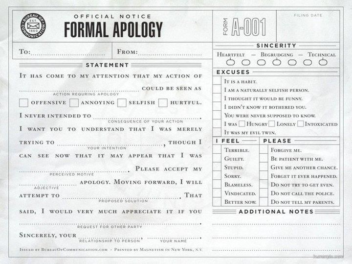 Formal Apology Letter Lol I Need Alot Of These From What I Have