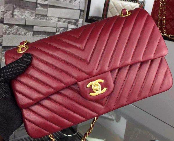 be2c94cc72 Chanel 2.55 Series Flap Bag Burgundy Lambskin Chevron Leather A5023 Gold