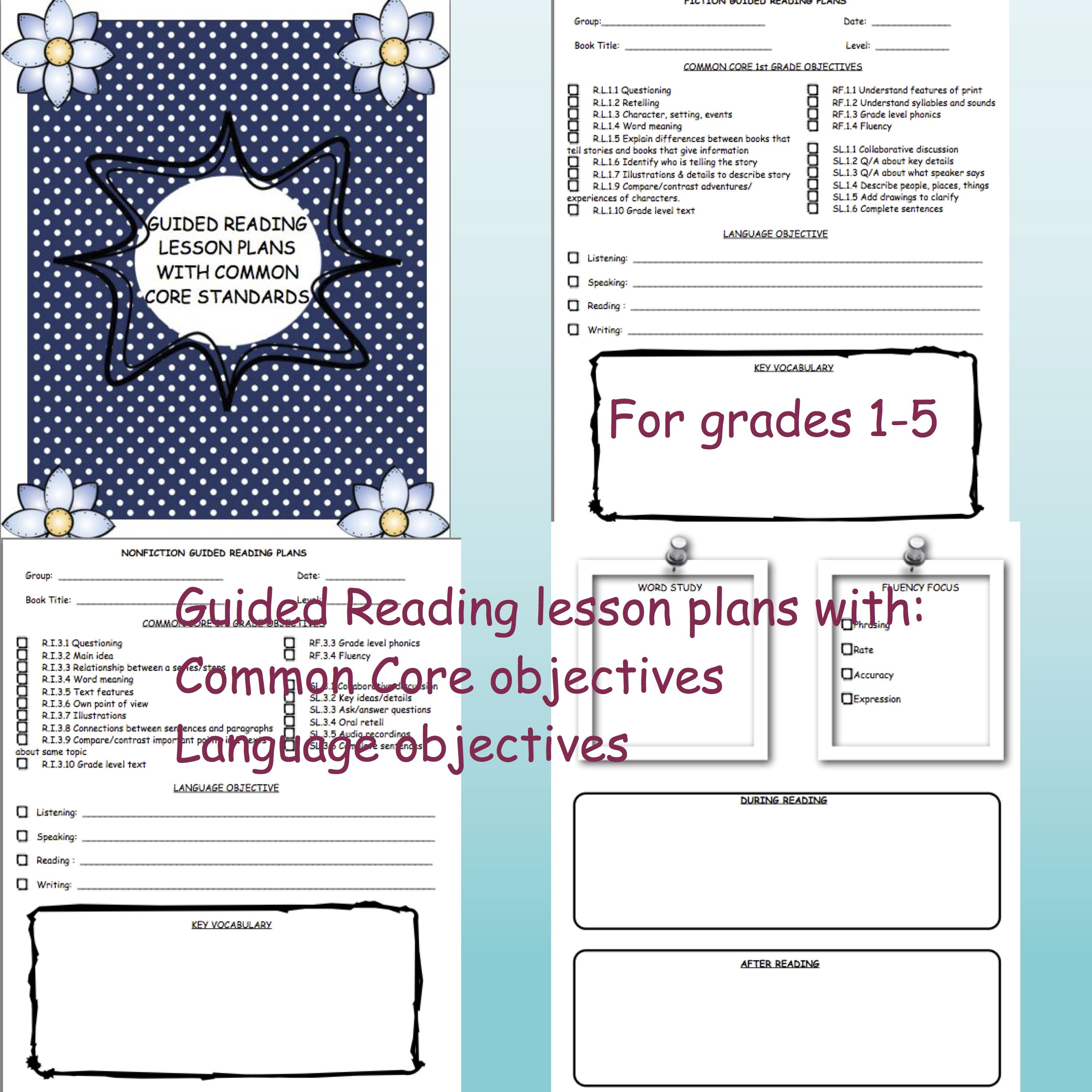 Guided Reading Lesson Plan Templates Common Core
