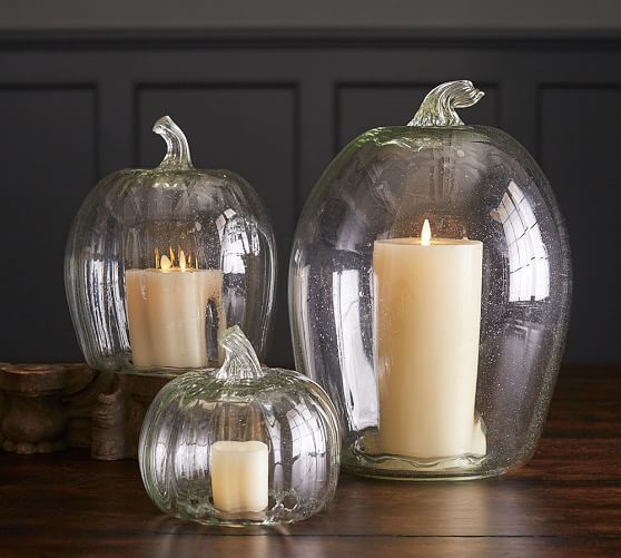 Recycled Glass Pumpkin Candle Cloches Glass Pumpkins Candle
