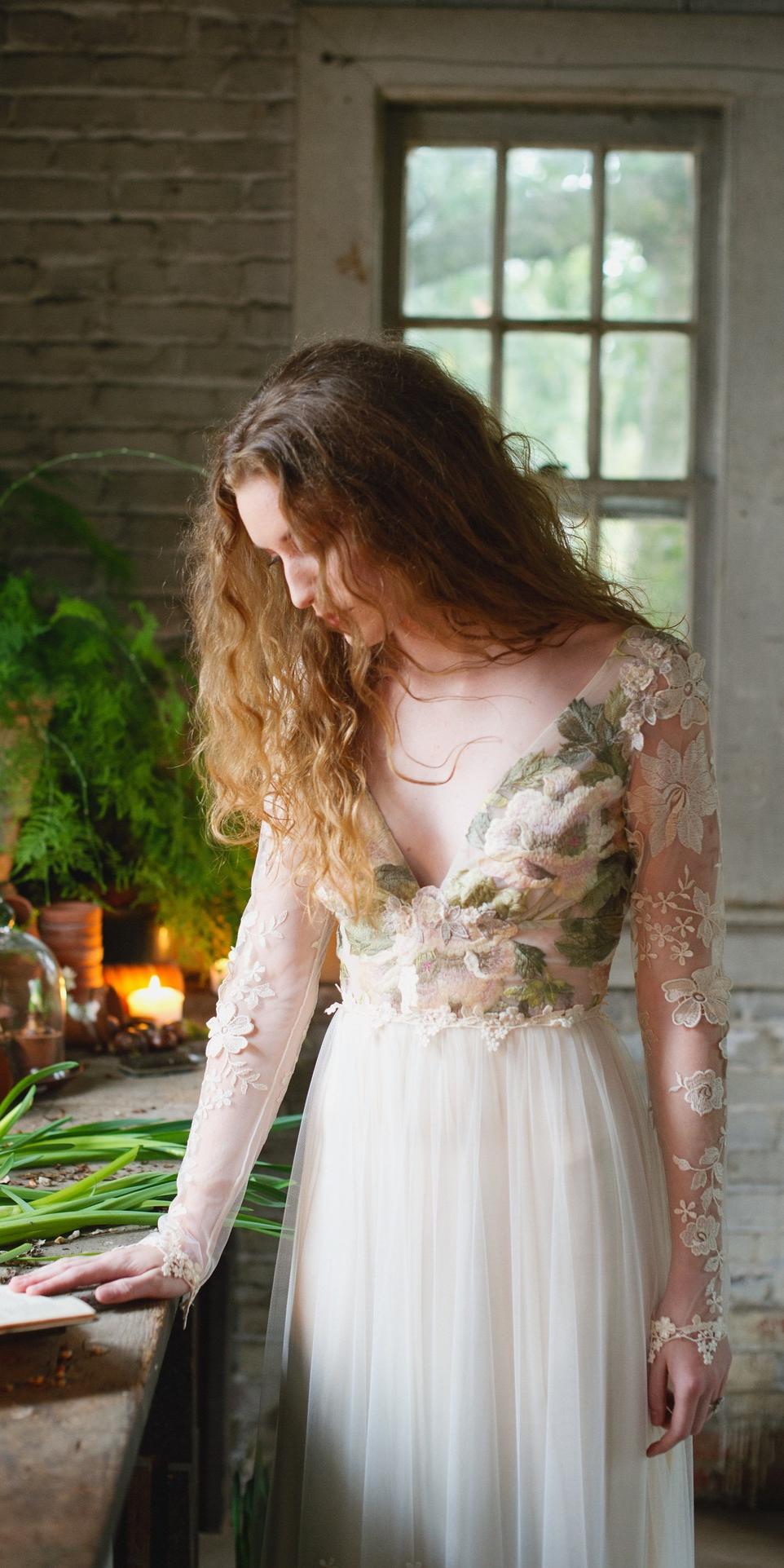 Primavera Gown Embroidered Wedding Dress Boho Wedding Dress Floral Wedding Dress