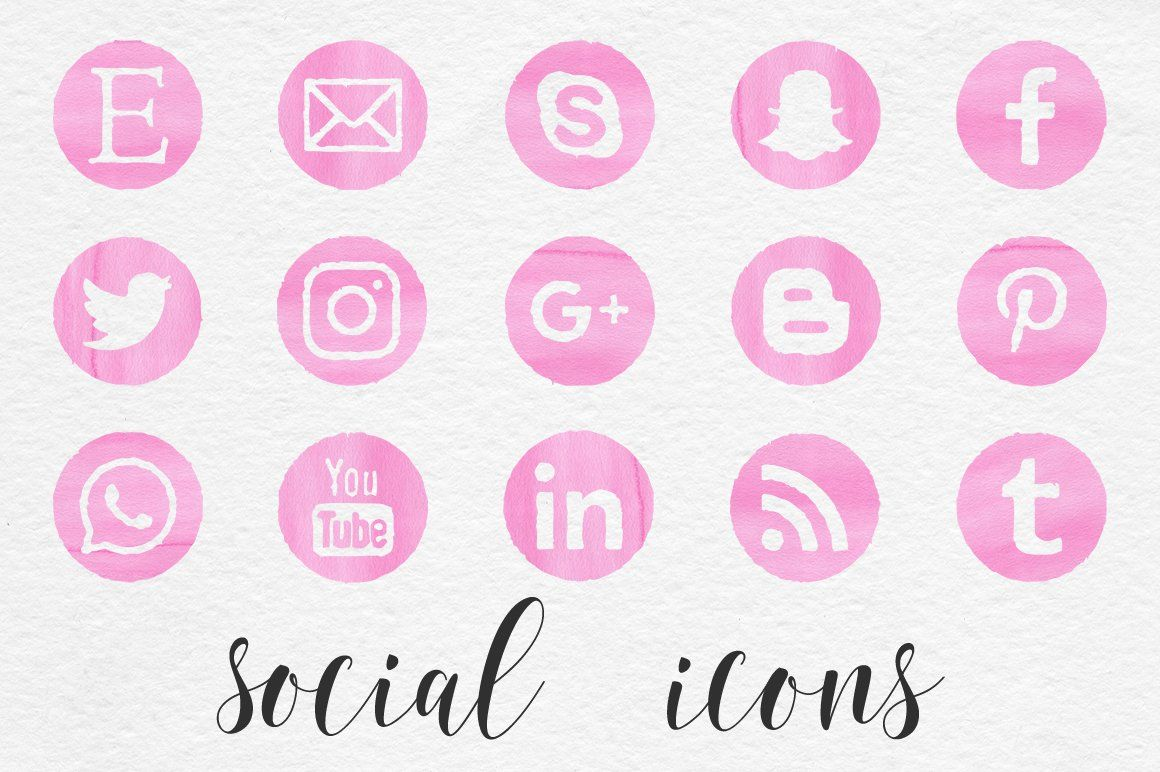 Pink Watercolor Social Icons in 2020 Social icons