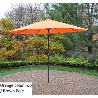 Oakland Living Corporation Polyester 9-foot Market Umbrella (Orange/Beige)(Iron), Patio Umbrella #largeumbrella