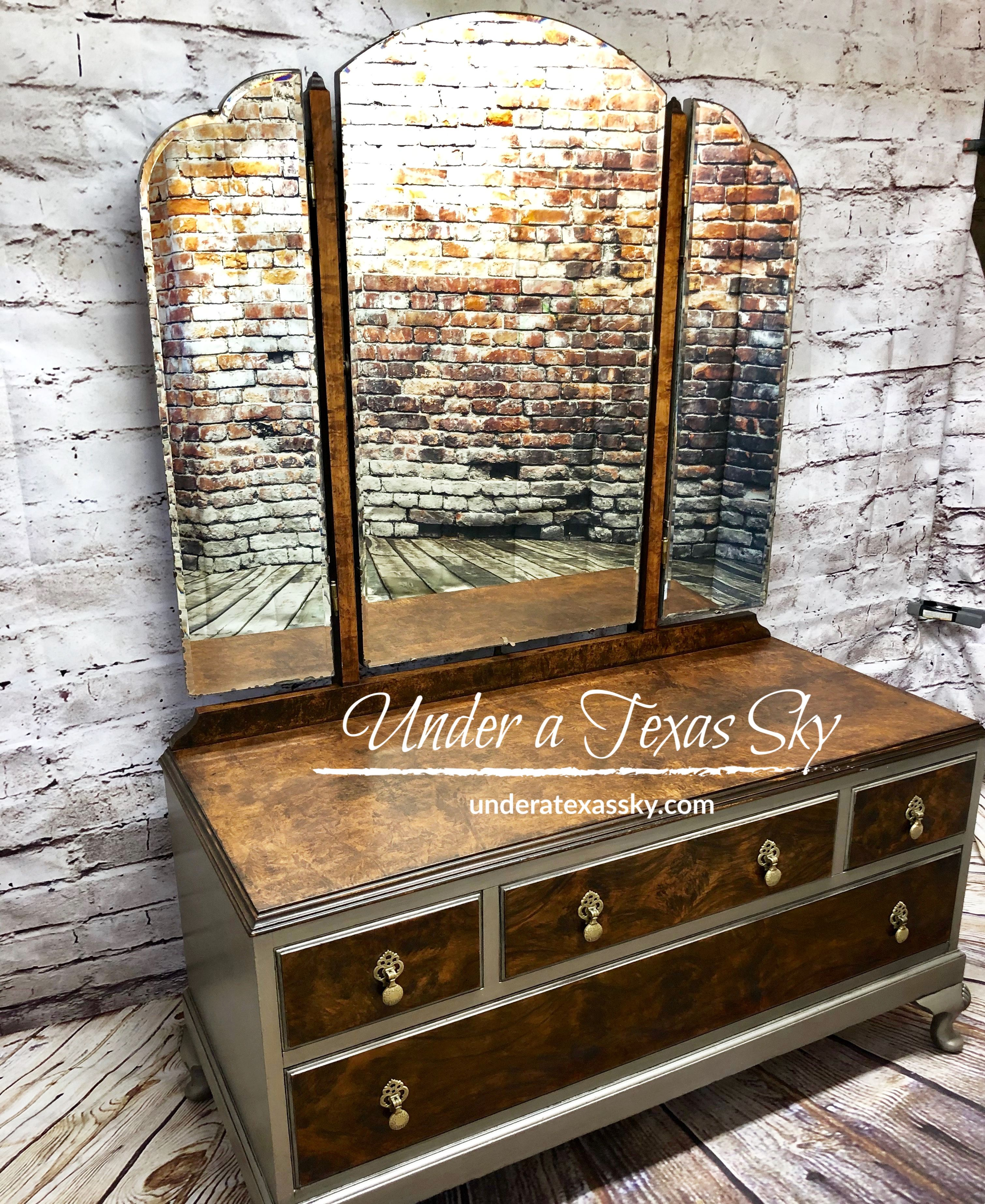 1920s Dressing Table Dixie Belle Moonshine Metallic Steel Magnolia Black Glaze Refinishing Furniture 1920s Dressing Table Dixie Belle Paint