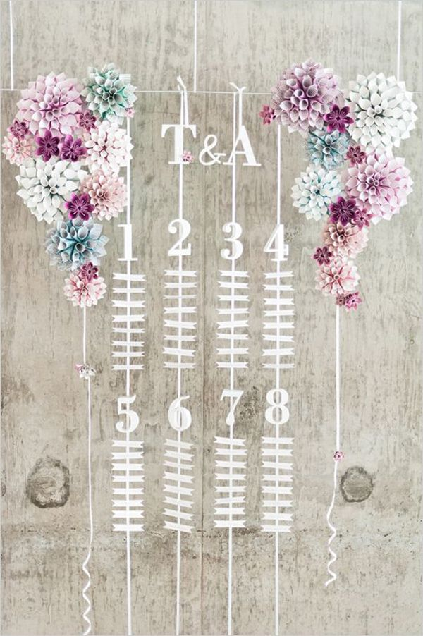 Hanging table plan / seating chart with paper cone flowers   Top 10 Unique Wedding Styling Ideas