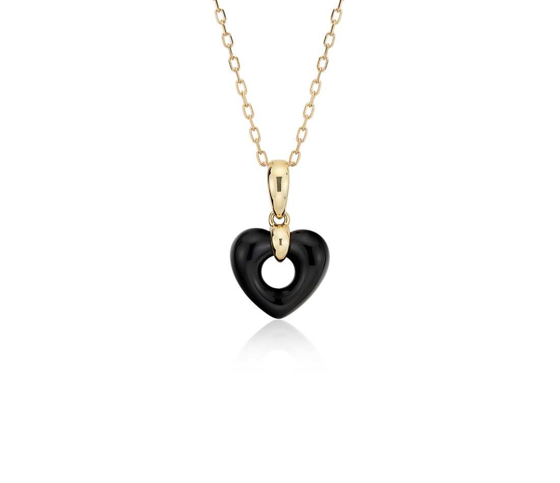 Onyx open heart pendant 14k yellow gold blue nile i need a onyx open heart pendant 14k yellow gold 11x11mm mozeypictures Gallery