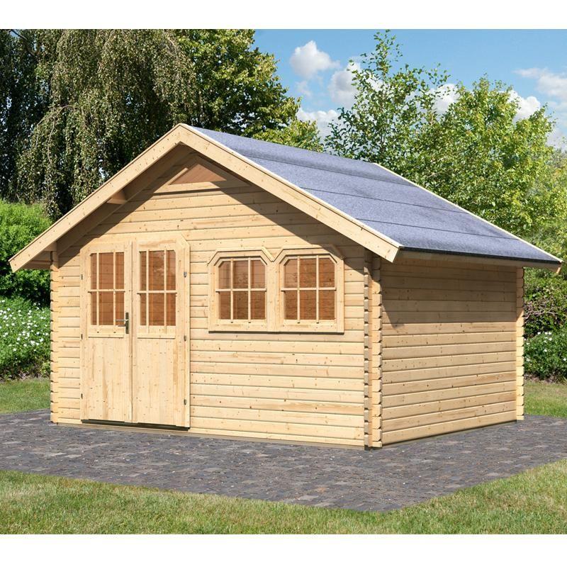 Abri de jardin 14.90m² en bois massif brut 40mm Doderic