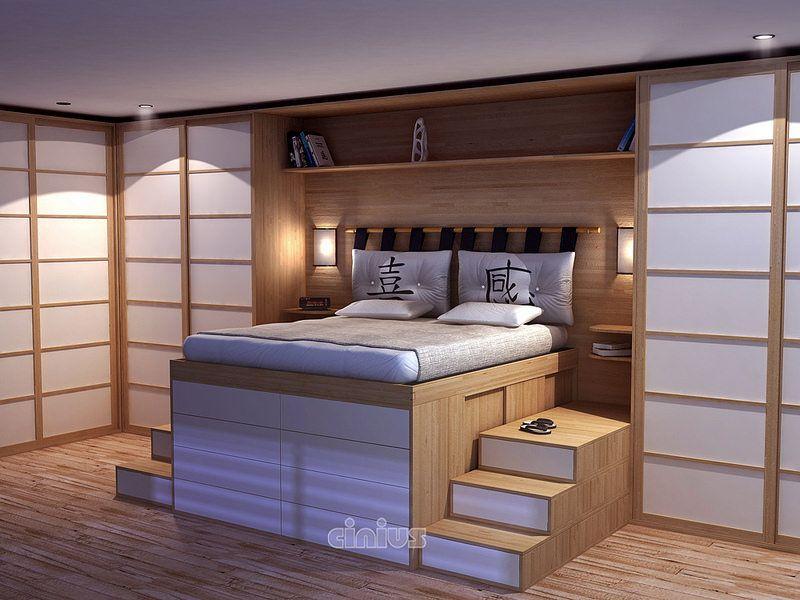 Ein Bett Mit Raum Und Kommode, Zur Messung, Im Buchenholz.#japanstyle  #arredare #interiordesign #mobilien #japanshoji ...