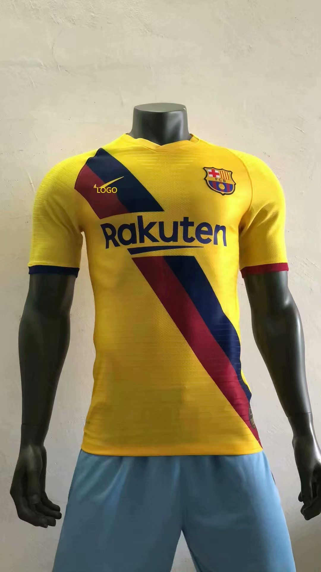 1920 adult player version barcelona away yellow soccer jersey