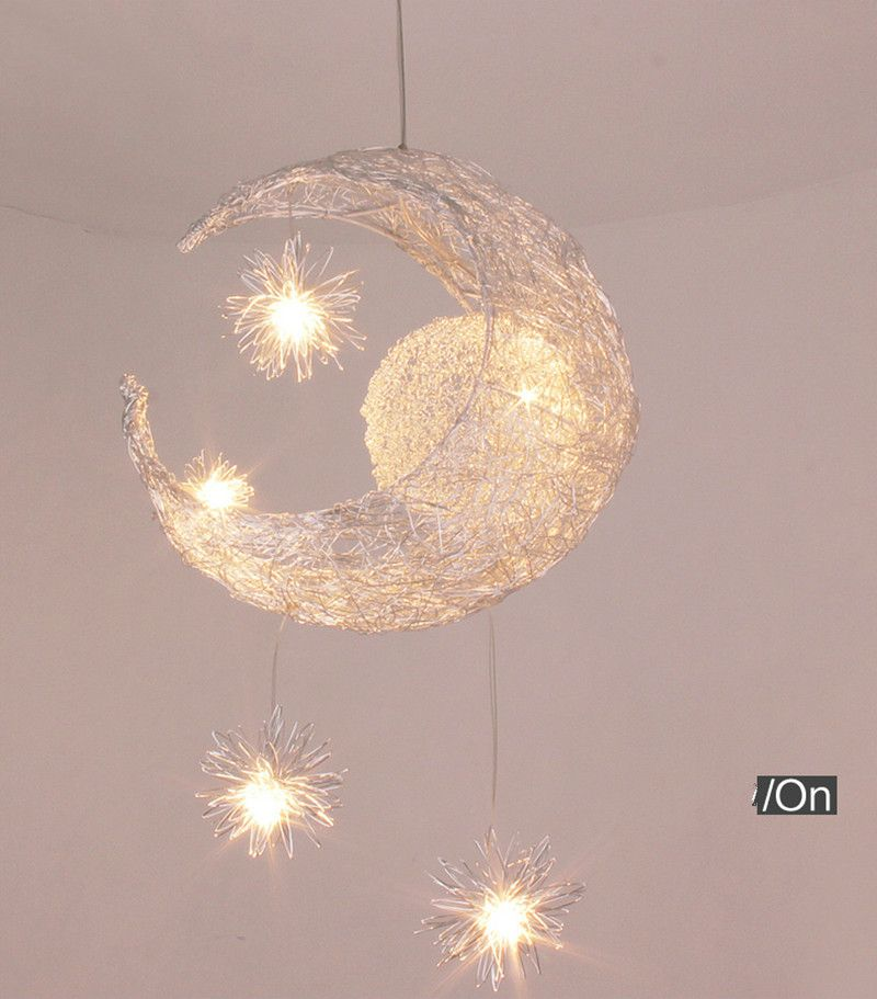 Led Decorative Lobby Hanging Half Moon Star Light Cute Design Baby